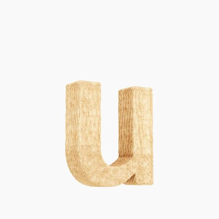 Woven wicker lower case letter u 3d render on a pure white background.