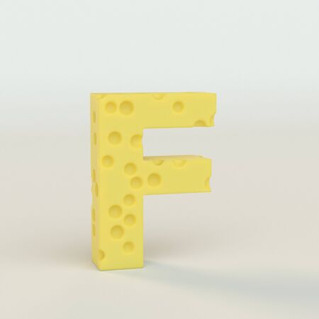 Upper case Swiss cheese letter F on a white studio seamless. This is a 3d render