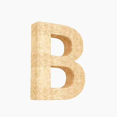 Woven wicker upper case letter b 3d render on a pure white background.