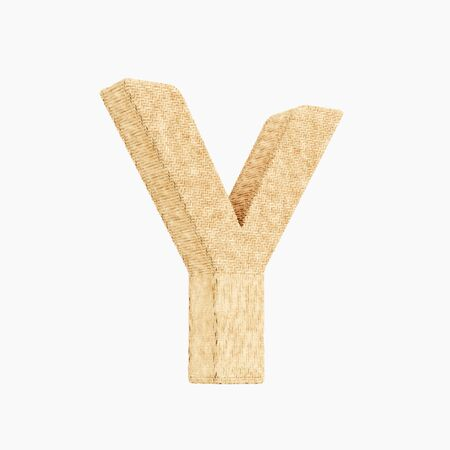 Woven wicker upper case letter y 3d render on a pure white background.