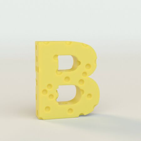 Upper case Swiss cheese letter B on a white studio seamless. This is a 3d render
