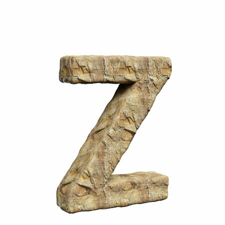 Roughly textured and warmly toned number z on a pure white background. This is a 3d render. Stock Photo