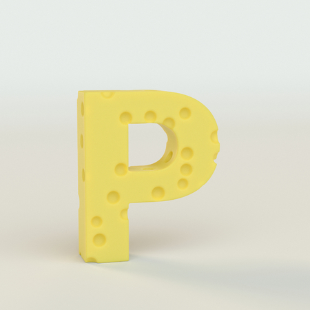 Upper case Swiss cheese letter P on a white studio seamless. This is a 3d render