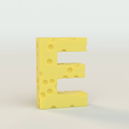 Upper case Swiss cheese letter E on a white studio seamless. This is a 3d render