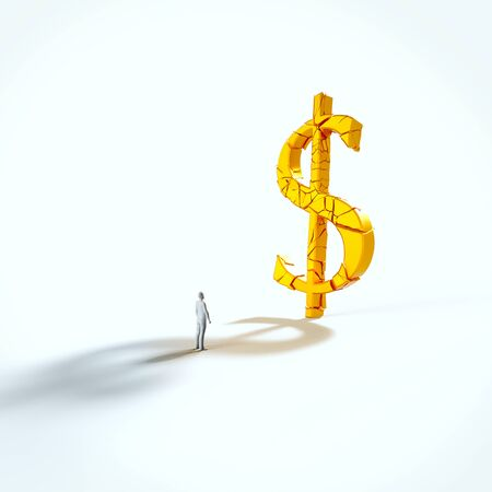 Minimal white figure looking up at a giant fracturing gold dollar in an empty white space. This image is a 3d render.