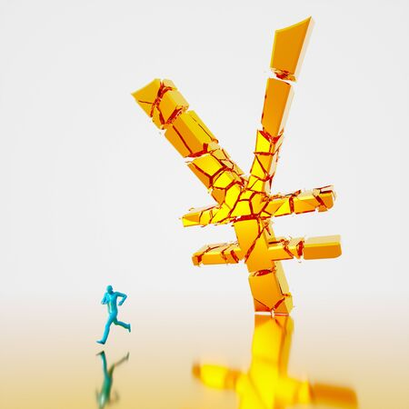 Huge collapsing and fracturing golden yen symbol falling toward a small teal figure running from it. Presented in a reflective gold and white space. This image is a 3d render. 写真素材