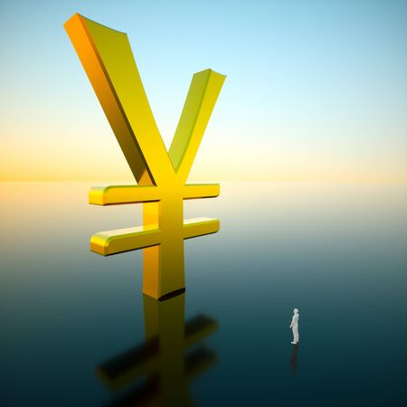 Giant gold yen looming over an awestruck small figure standing on a reflective surface under a brilliant blue sky hinting at a sunrise. This image is a 3d render. 写真素材