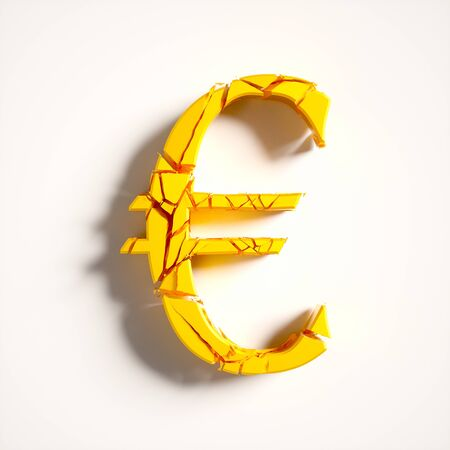 Fracturing reflective gold euro lying flat on a neutral white surface from aerial perspective. This image is a 3d render.