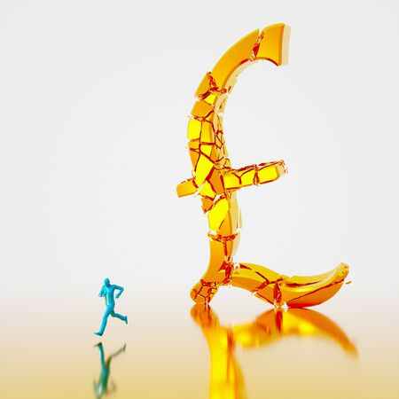Huge collapsing and fracturing golden pound symbol falling toward a small teal figure running from it. Presented in a reflective gold and white space. This image is a 3d render.