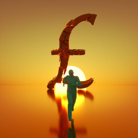 Simple teal figure sprinting toward camera away from a massive fracturing gold pound symbol backlit by a dramatic sunset. This image is a 3d render.