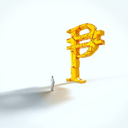 Minimal white figure looking up at a giant fracturing gold peso in an empty white space. This image is a 3d render.
