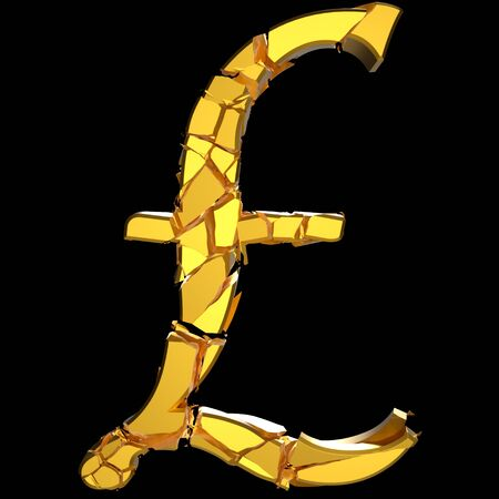 Violently fracturing gold pound sign against a pure black background. This image is a 3d render.