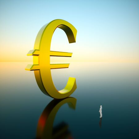 Giant gold euro looming over an awestruck small figure standing on a reflective surface under a brilliant blue sky hinting at a sunrise. This image is a 3d render. 写真素材