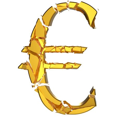 Violently fracturing gold euro sign against a pure white background. This image is a 3d render. 写真素材