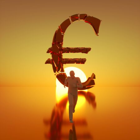 Simple white figure sprinting toward camera away from a massive fracturing gold euro symbol backlit by a dramatic sunset. This image is a 3d render.
