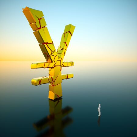 Small white figure looking up a massive fracturing gold yen sign. Presented on a minimal reflective surface with a blue and yellow sky. This image is a 3d render.