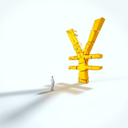 Minimal white figure looking up at a giant fracturing gold yen in an empty white space. This image is a 3d render. 写真素材