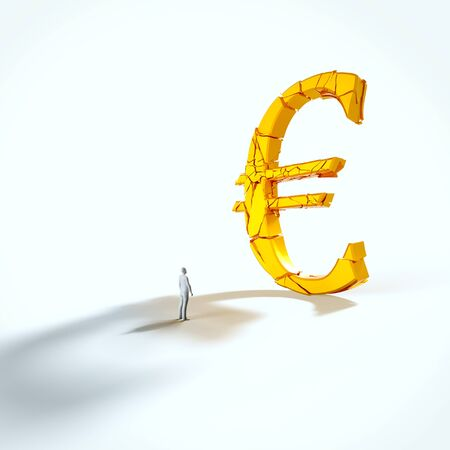 Minimal white figure looking up at a giant fracturing gold euro in an empty white space. This image is a 3d render.