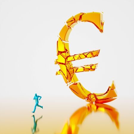 Huge collapsing and fracturing golden euro symbol falling toward a small teal figure running from it. Presented in a reflective gold and white space. This image is a 3d render. 写真素材