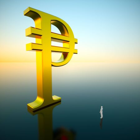 Giant gold peso looming over an awestruck small figure standing on a reflective surface under a brilliant blue sky hinting at a sunrise. This image is a 3d render.