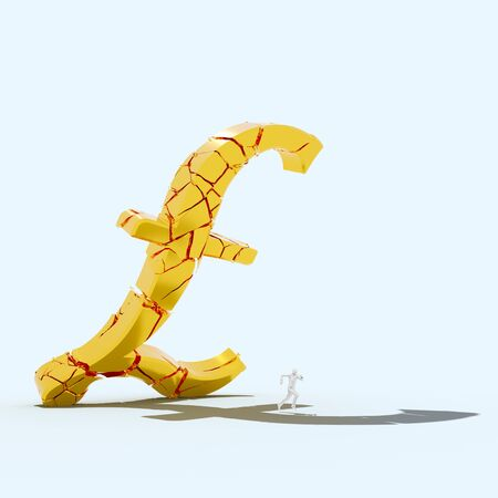Giant breaking gold pound symbol falling toward a small figure attempting to outrun it. Presented in an empty white studio space. This image is a 3d render. 写真素材