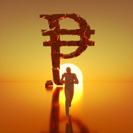 Simple white figure sprinting toward camera away from a massive fracturing gold peso symbol backlit by a dramatic sunset. This image is a 3d render.