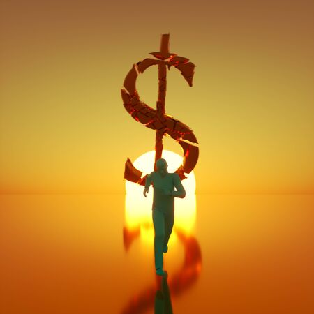 Simple teal figure sprinting toward camera away from a massive fracturing gold dollar symbol backlit by a dramatic sunset. This image is a 3d render.