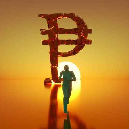 Simple teal figure sprinting toward camera away from a massive fracturing gold peso symbol backlit by a dramatic sunset. This image is a 3d render. 写真素材