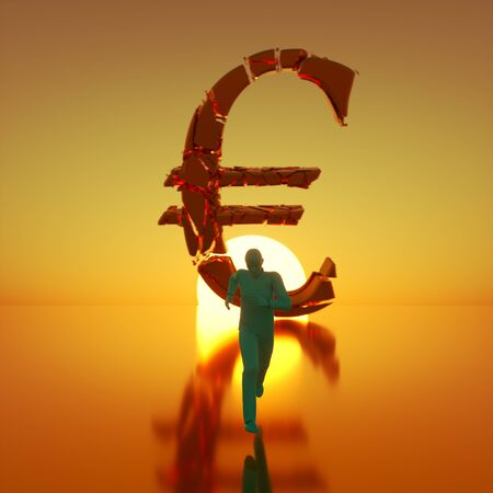 Simple teal figure sprinting toward camera away from a massive fracturing gold euro symbol backlit by a dramatic sunset. This image is a 3d render.