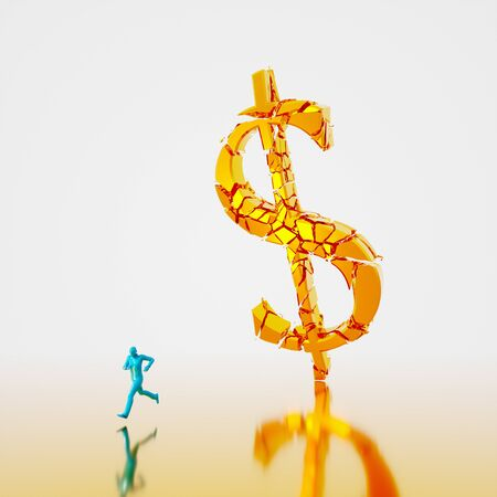 Huge collapsing and fracturing golden dollar symbol falling toward a small teal figure running from it. Presented in a reflective gold and white space. This image is a 3d render.