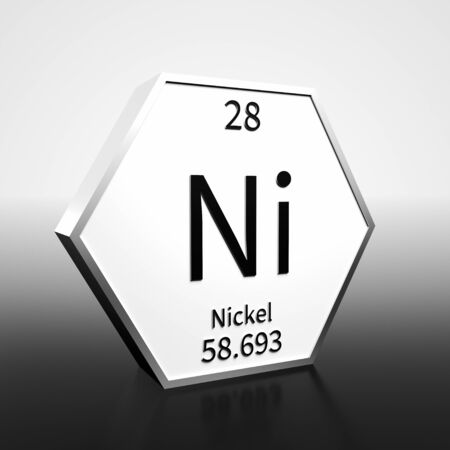Metal hexagonal block representing the periodic table element Nickel. Presented as black text on a white backing plate with a black and white gradient background. This image is a 3d render. Imagens