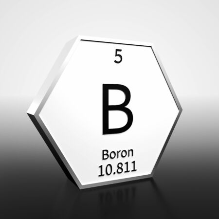 Metal hexagonal block representing the periodic table element Boron. Presented as black text on a white backing plate with a black and white gradient background. This image is a 3d render. 免版税图像
