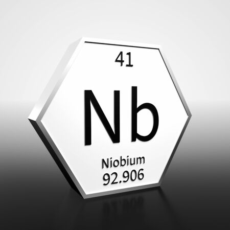 Metal hexagonal block representing the periodic table element Niobium. Presented as black text on a white backing plate with a black and white gradient background. This image is a 3d render.