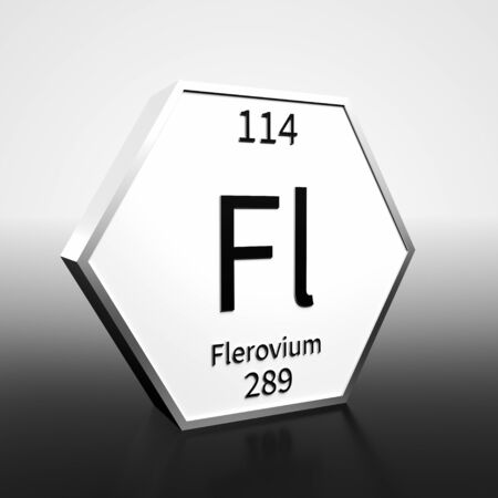 Metal hexagonal block representing the periodic table element Flerovium. Presented as black text on a white backing plate with a black and white gradient background. This image is a 3d render.