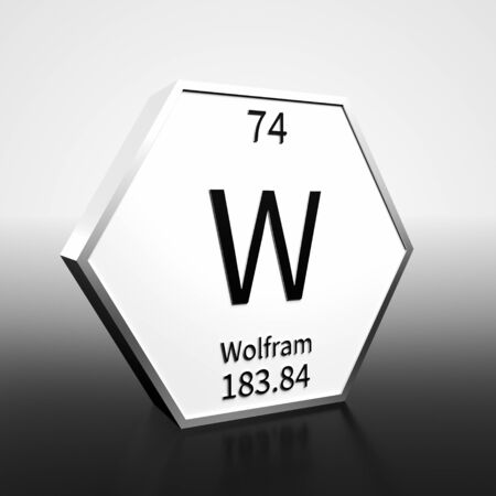 Metal hexagonal block representing the periodic table element Wolfram. Presented as black text on a white backing plate with a black and white gradient background. This image is a 3d render. Foto de archivo