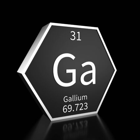 Metal hexagonal block representing the periodic table element Gallium. Presented as white text on a black backing plate with a black background. This image is a 3d render. Foto de archivo