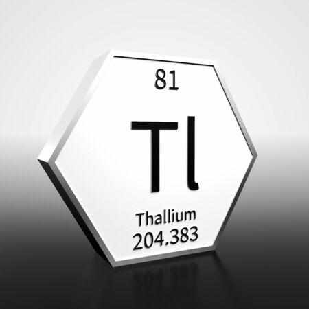 Metal hexagonal block representing the periodic table element Thallium. Presented as black text on a white backing plate with a black and white gradient background. This image is a 3d render.