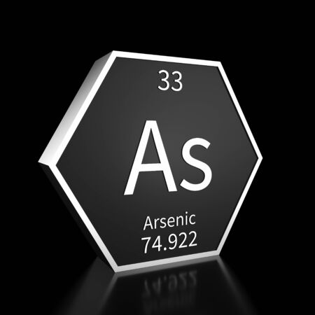 Metal hexagonal block representing the periodic table element Arsenic. Presented as white text on a black backing plate with a black background. This image is a 3d render.