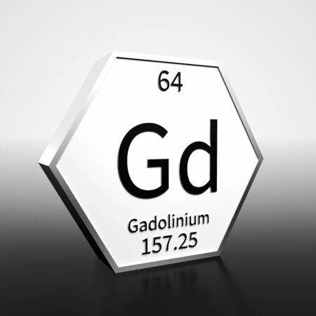 Metal hexagonal block representing the periodic table element Gadolinium. Presented as black text on a white backing plate with a black and white gradient background. This image is a 3d render. Foto de archivo