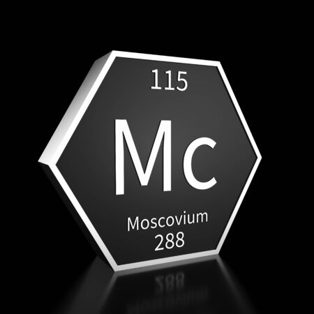 Metal hexagonal block representing the periodic table element Moscovium. Presented as white text on a black backing plate with a black background. This image is a 3d render.