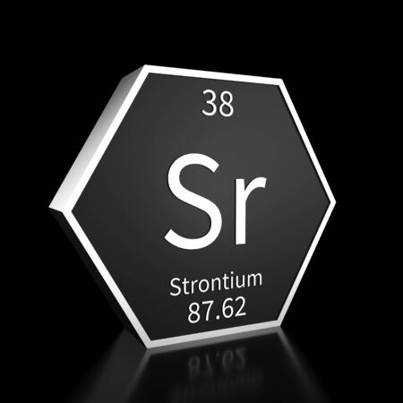 Metal hexagonal block representing the periodic table element Strontium. Presented as white text on a black backing plate with a black background. This image is a 3d render.