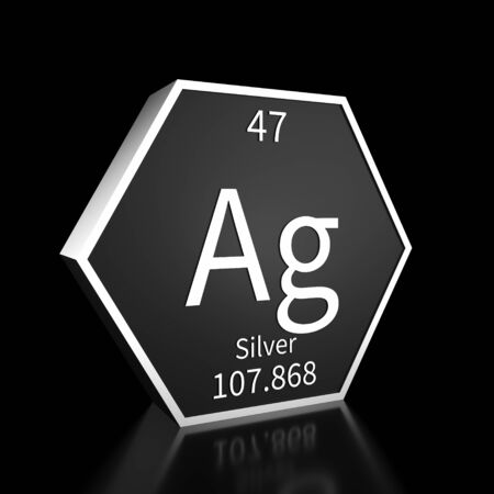 Metal hexagonal block representing the periodic table element Silver. Presented as white text on a black backing plate with a black background. This image is a 3d render.