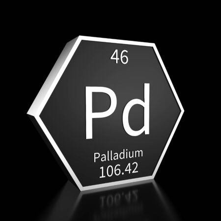 Metal hexagonal block representing the periodic table element Palladium. Presented as white text on a black backing plate with a black background. This image is a 3d render.