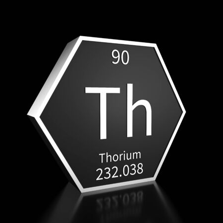 Metal hexagonal block representing the periodic table element Thorium. Presented as white text on a black backing plate with a black background. This image is a 3d render.