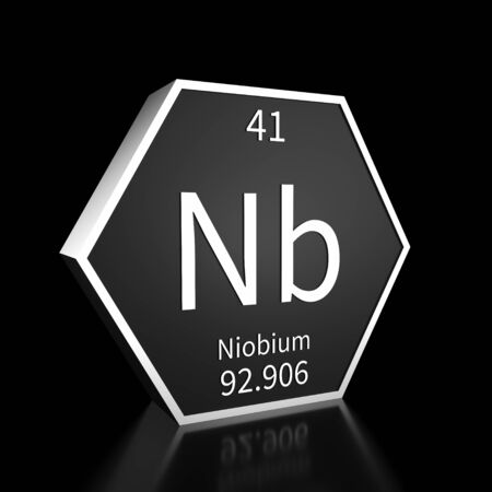 Metal hexagonal block representing the periodic table element Niobium. Presented as white text on a black backing plate with a black background. This image is a 3d render.