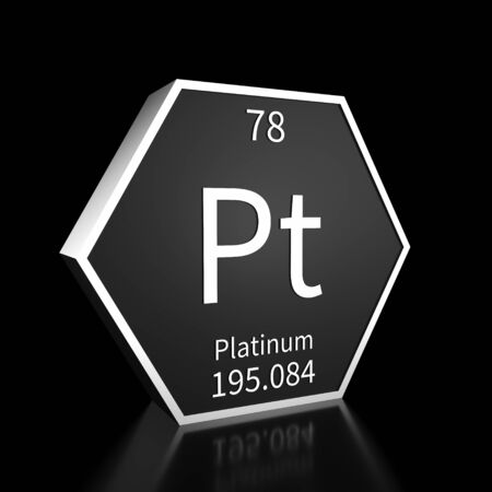 Metal hexagonal block representing the periodic table element Platinum. Presented as white text on a black backing plate with a black background. This image is a 3d render. Foto de archivo