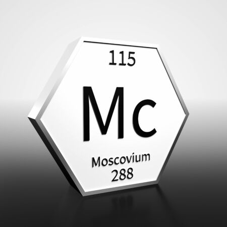 Metal hexagonal block representing the periodic table element Moscovium. Presented as black text on a white backing plate with a black and white gradient background. This image is a 3d render.