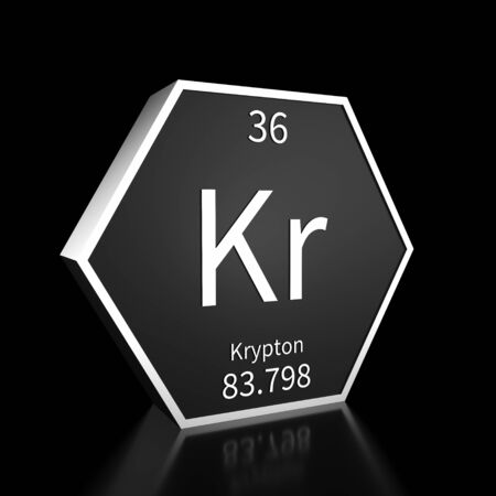 Metal hexagonal block representing the periodic table element Krypton. Presented as white text on a black backing plate with a black background. This image is a 3d render.