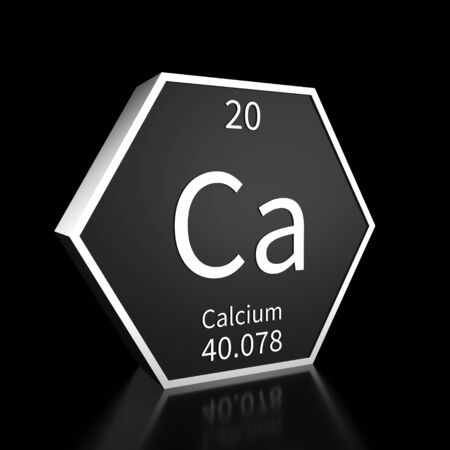 Metal hexagonal block representing the periodic table element Calcium. Presented as white text on a black backing plate with a black background. This image is a 3d render.