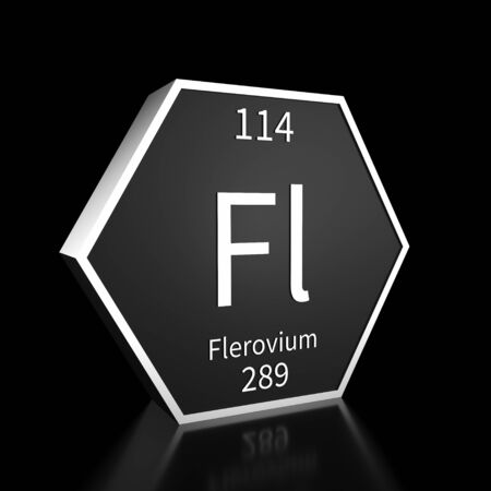 Metal hexagonal block representing the periodic table element Flerovium. Presented as white text on a black backing plate with a black background. This image is a 3d render.